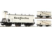 """set 3 vagoane frigorifice """"Seefische"""" DRG - H0 FLEISCHMANN 538101"""