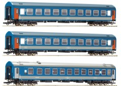 """set 3 vagoane calatori D 374/375 """"Vindobona/Hungaria"""" MAV - H0 ROCO 74188"""